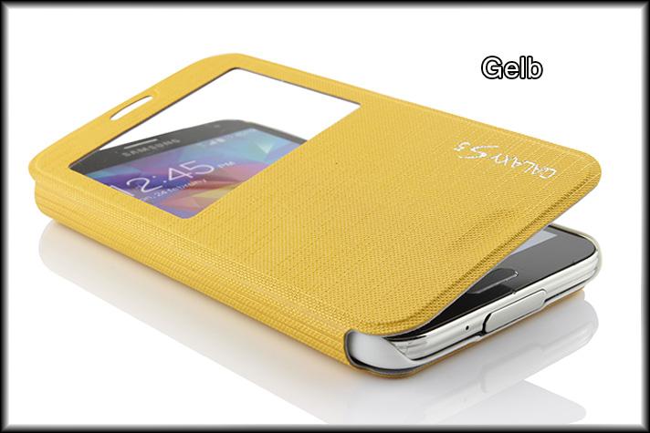 Urcover-Samsung-Galaxy-S5-View-Cover-Premium-Schutz-Huelle-Case-Tasche-Zubehoer