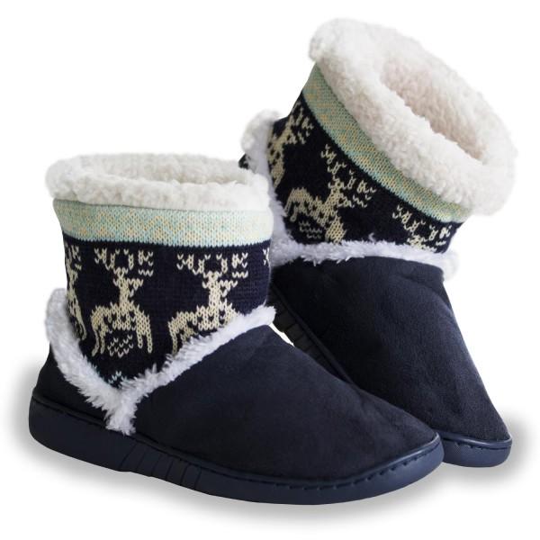 Urhome® Unisex Hausschuhe Winter rutschfeste Sohle Plüsch Pantoffel Schlappen