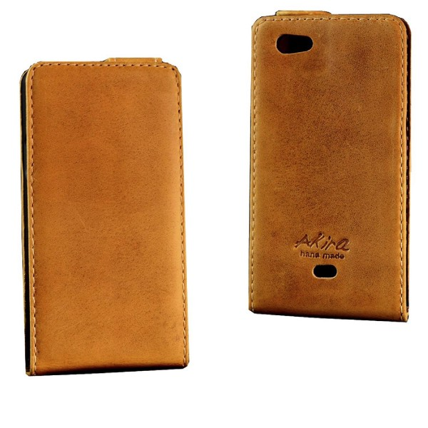 Akira Sony Xperia Micro Handmade Echtleder Schutzhülle Flip Ledertasche Wallet