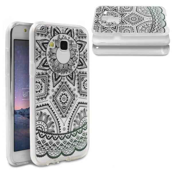 Samsung Galaxy J5 (2015) TPU 360° Grad Rundum Schutz Hülle Mandala Case Cover