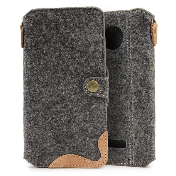 Urcover® Lenovo Moto Z Play Filz Wallet Handyhülle Aufklapp Cover Case Sleeve
