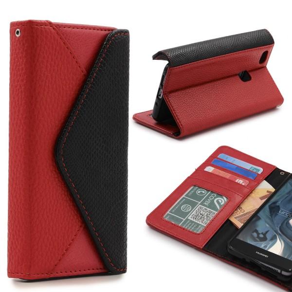 Urcover® Huawei P10 Lite Schutz Hülle Karten & Geld Fach Case Cover Etui