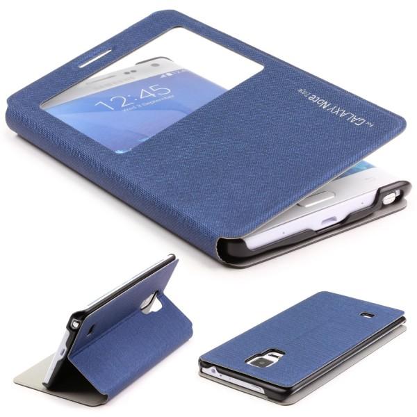 Urcover® Samsung Galaxy Note Edge View Case Schutz Hülle Wallet Cover Etui Tasche Struktur