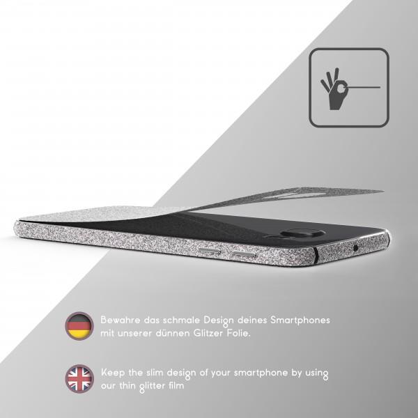 Samsung Galaxy S6 Glitzer Folie Aufkleben Regenbogen Farbig Diamond Bling Design