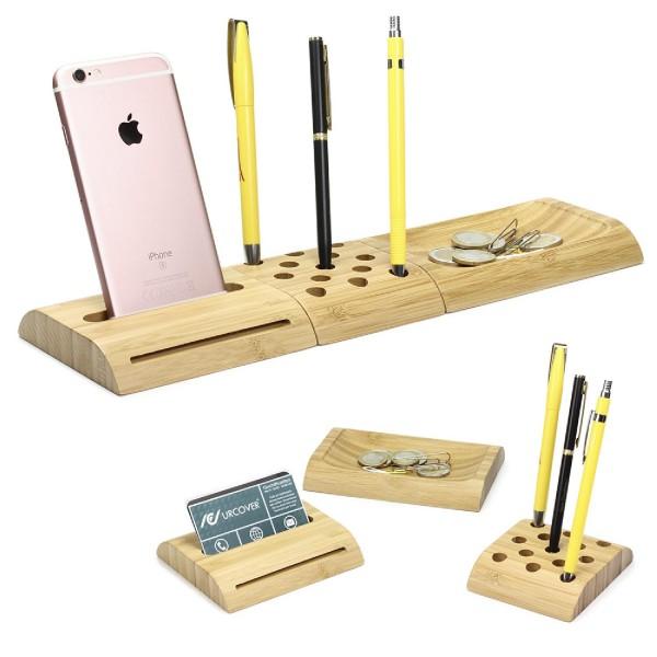 Urcover® Holz Stifthalter [Handyhalterung & Kleinteilefach] Zubehör Organisator