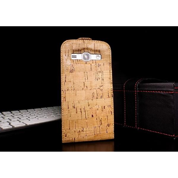 Urcover® Samsung Galaxy G 3500 / core plus Kork Flip Schutz Hülle Cover Wallet