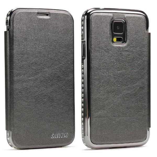 Urcover® Samsung Galaxy S5 Kunststoff Aluminium Diamond Wallet Cover Case Hülle