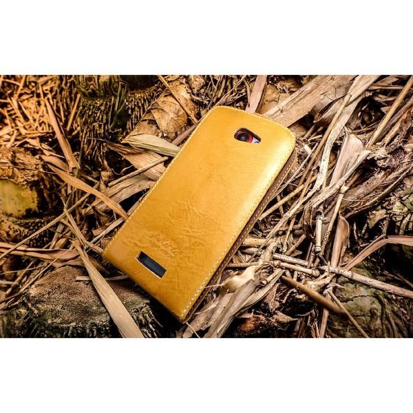 Akira Hand Made Echt Leder Handy Schutz Hülle Case Cover Wallet HTC One S