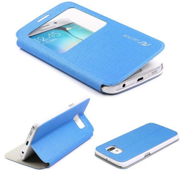 Samsung Galaxy S6 Edge View Case Schutz Hülle Wallet Cover Etui Tasche Struktur