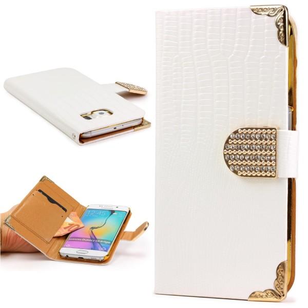 Urcover® Samsung Galaxy S6 Edge Hülle Kartenfächer Flip Case Wallet Crocodile
