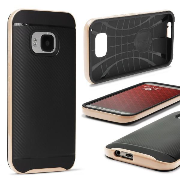 HTC One M9 Case Carbon Style Schutzhülle Cover Dual Layer TPU PC