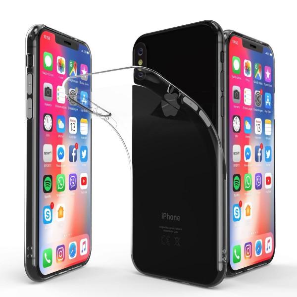Apple iPhone X Slim Backcase Kamera Schutz Hülle Silikon Cover Case Etui Bumper