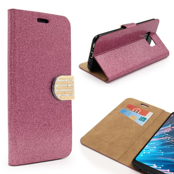 Samsung Galaxy S8 Plus Strass Bling Diamant Flip Hülle Glitzer Wallet Case Cover