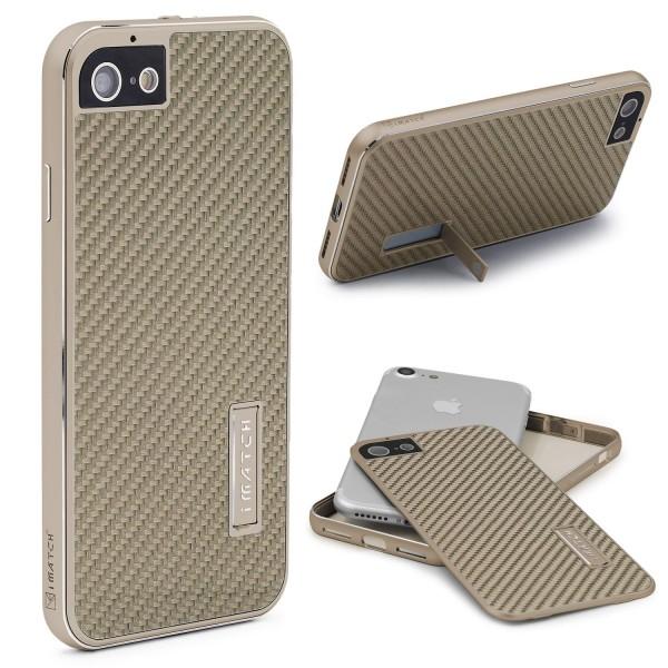 Apple iPhone 7 Echt Carbon Back Case Handy Schutz Hülle Bumper Aluminium Karbon