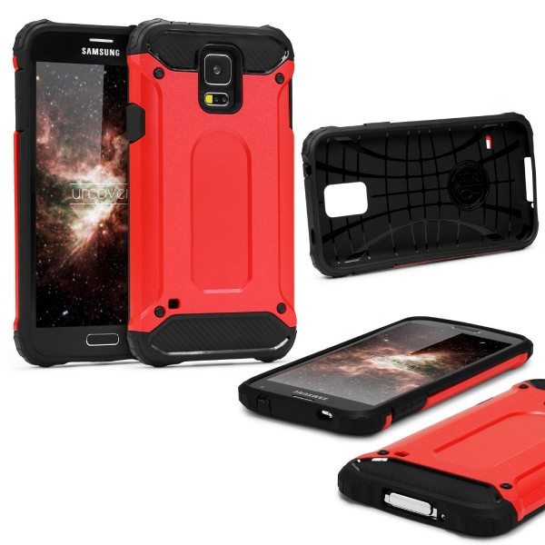 Samsung Galaxy S5 OUTDOOR Schutz Hülle TOP Cover Back Case Carbon Optik Etui