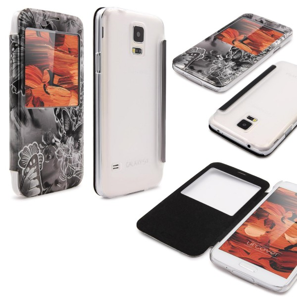 Urcover® Samsung Galaxy S5 Wallet S-View Funktion Schmetterling Cover Case Hülle
