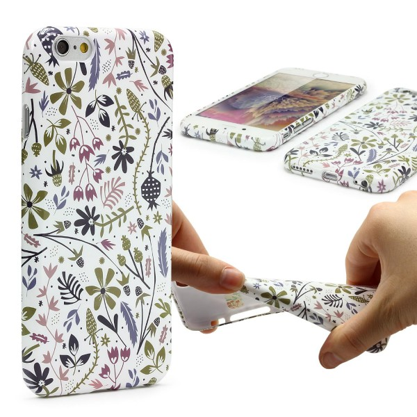 Urcover® Apple iPhone 6 Plus 6s Plus Blumenmuster Schutzhülle TPU Felxibel Case