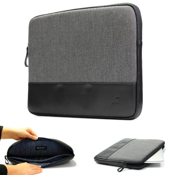 Urcover® 15,4 Zoll Laptop Tasche Stoff Kunstleder Tasche Grau Etui Notebook