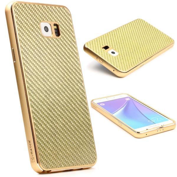 Samsung Galaxy Note 5 Echt Carbon Back Case Handy Schutz Hülle Bumper Alu Karbon