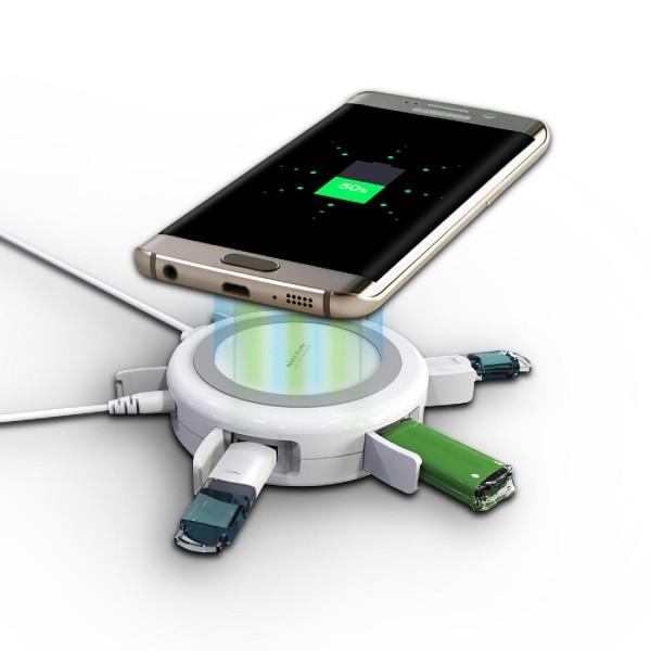 Nillkin 4x USB Qi Ladegerät induktive Ladestation + USB Hub kabeloses FAST Laden