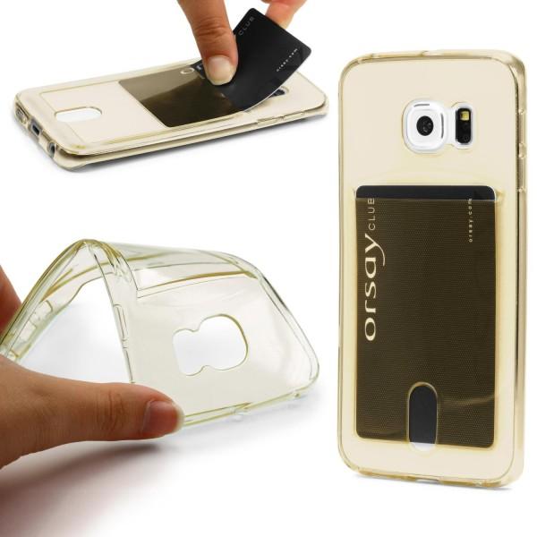 Urcover® Schutz Hülle Samsung Galaxy S6 Edge Plus Kartenfach Silikon Case Cover