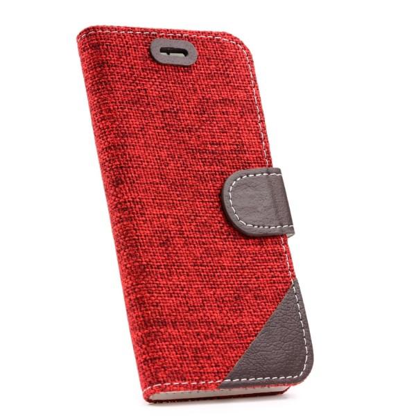Urcover Apple iPhone 6 / 6s Stoff Wallet Tasche Magnetverschluss & Standfunktion