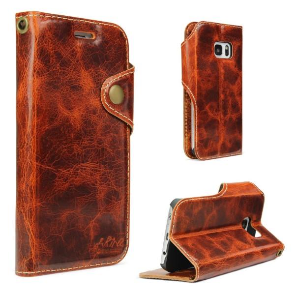 Akira Handmade Echt Leder Handy Schutz Hülle Samsung Galaxy S7 Flip Cover Case