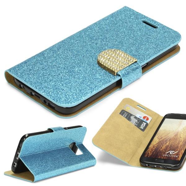 Samsung Galaxy S7 Strass Bling Diamant Handy Flip Hülle Glitzer Wallet Case