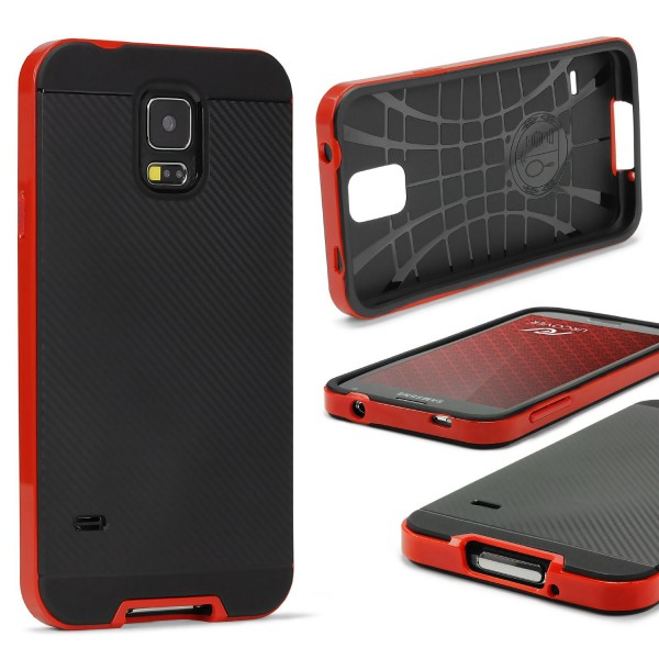 Samsung Galaxy S5 Mini Case Carbon Style Schutzhülle Cover Dual Layer TPU PC