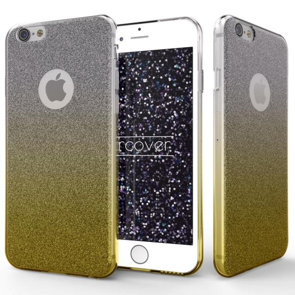 Apple iPhone 6 / 6s Soft Glitzer 2 farbig Schutz Hülle Gel Silikon Einlage Strass