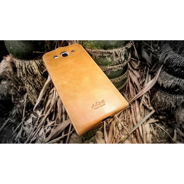 Akira Samsung Galaxy Mega 5.8 Handmade Echtleder Schutzhülle Flip Ledertasche
