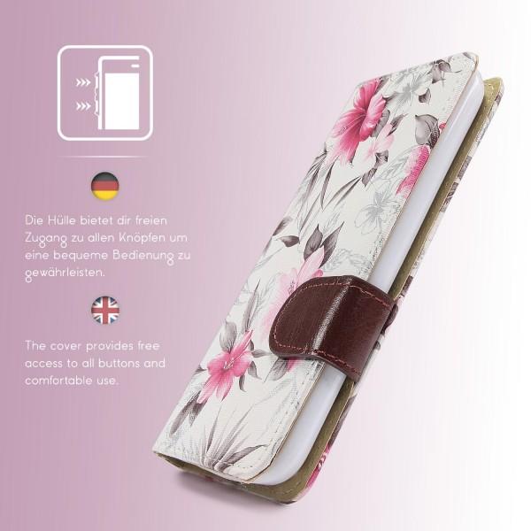 Urcover LG K10 Schutz Hülle Blumenmuster Kartenfächer Ständer Tasche Schale Etui