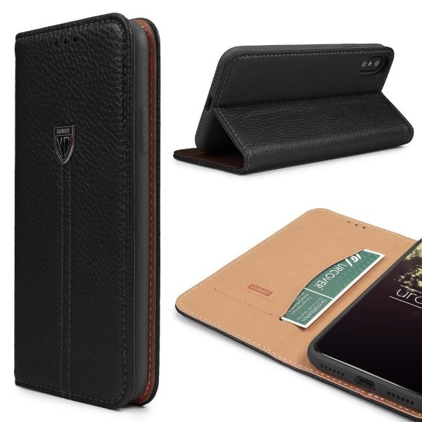 Urcover® Apple iPhone X Premium Handy Schutzhülle Kartenfach Standfunktion Wallet Flip Case