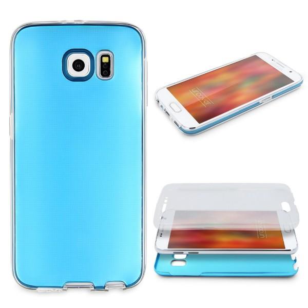 Samsung Galaxy S6 360 GRAD RUNDUM SCHUTZ Metalloptik TPU Handy Hülle Cover Case
