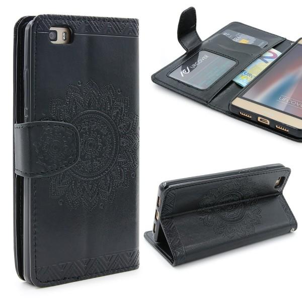 Huawei P8 Lite Wallet Klapp Schutzhülle Stand Flip Case Cover Etui Schale Tasche