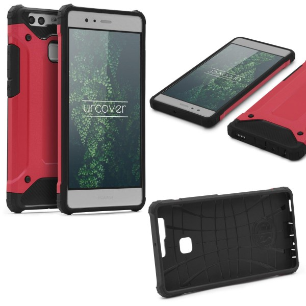 Huawei P9 OUTDOOR Schutz Hülle TOP Cover Back Case Carbon Optik Etui Schale