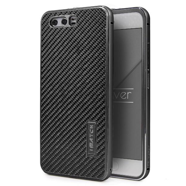 Huawei P10 Echt Carbon Back Case Handy Schutz Hülle Bumper Aluminium Karbon Etui