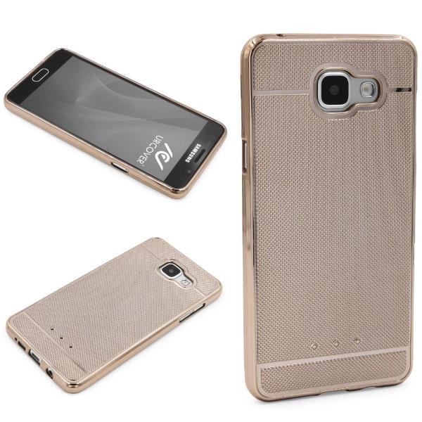 Urcover® Samsung Galaxy A3 (2016) Schutz Hülle Metall Optik Silikon Soft Case