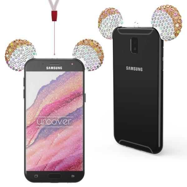 Urcover Samsung Galaxy J3 (2017 Europa) TPU Maus Ohren Bling Ear Edition Schutz Hülle Cover Glitzer