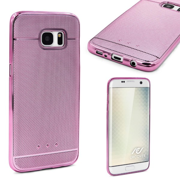 Urcover® Samsung Galaxy S7 Edge Schutz Hülle Metall Optik Silikon Soft Back Case
