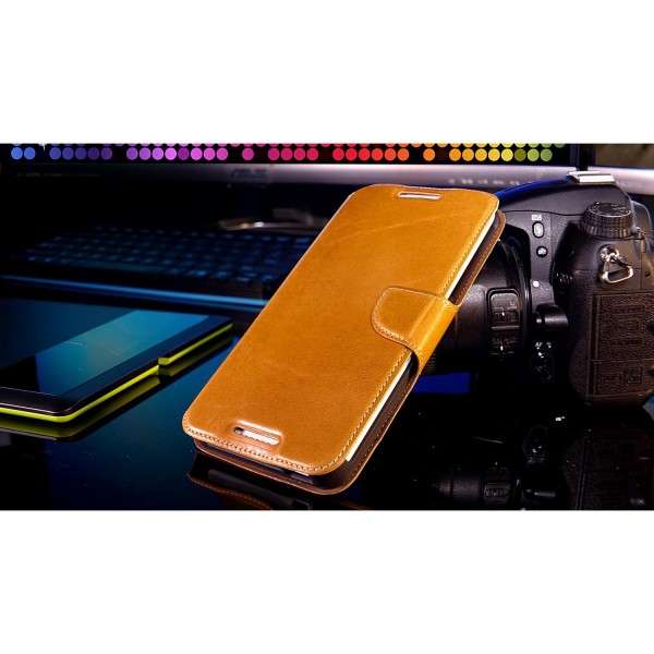 Akira HTC Desire 816 Handmade Echtleder Klapp Schutzhülle Flip Cover Wallet Case