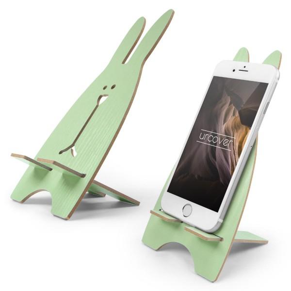 Urcover® Smartphone Halter Holz Halterung Handy Ständer im Hasen Design Grün