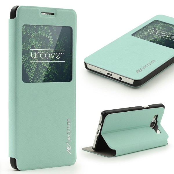 Urcover® Samsung Galaxy A3 (2015) Kunststoff Wallet S-View Standfunktion Cover