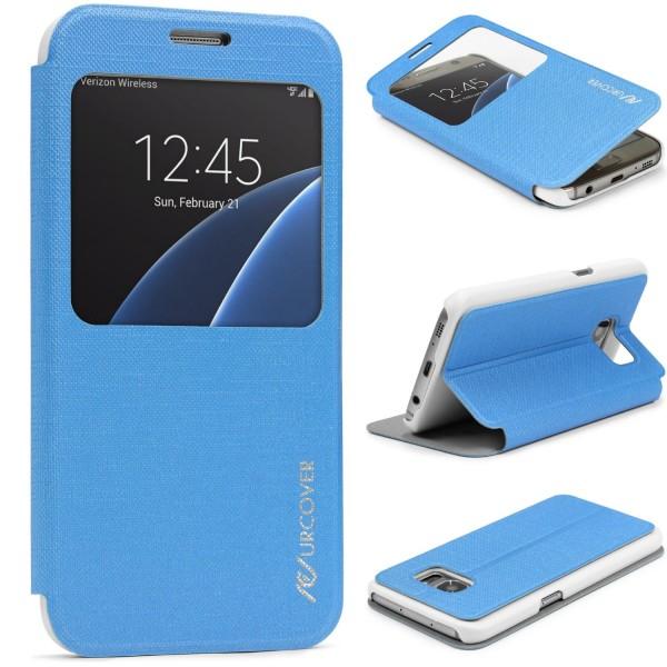 Samsung Galaxy S7 View Case Schutz Hülle Wallet Cover Etui Tasche Struktur