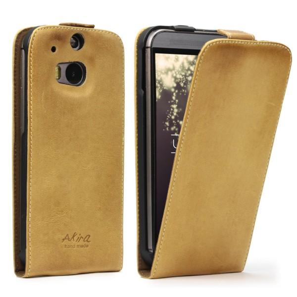 Akira HTC One M8 Handmade Echtleder Schutzhülle Case Wallet Cover Ledertasche