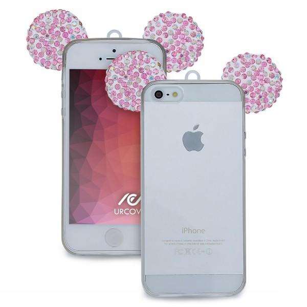 Apple iPhone 5 / 5s / SE TPU Maus Ohren Bling Ear Schutz Hülle Cover Glitzer