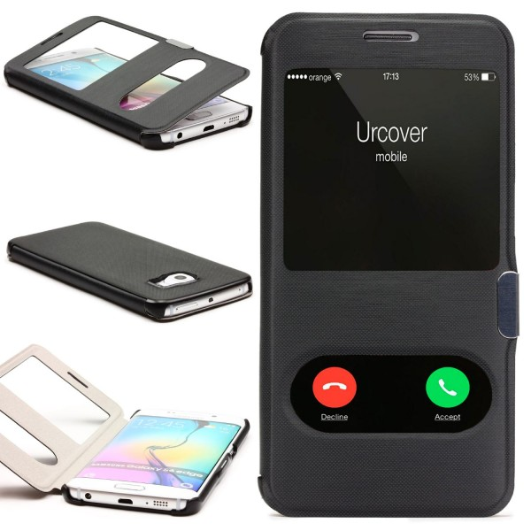 Samsung Galaxy S6 Edge Double View Schutz Case Handy Hülle Fenster Tasche Cover