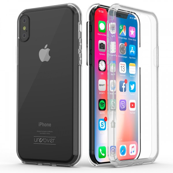 Urcover Apple iPhone XS Max Touch Case 2.0 Hard Edition berühmt durch Galileo Rundum 360° Crystal Clear Schutzhülle