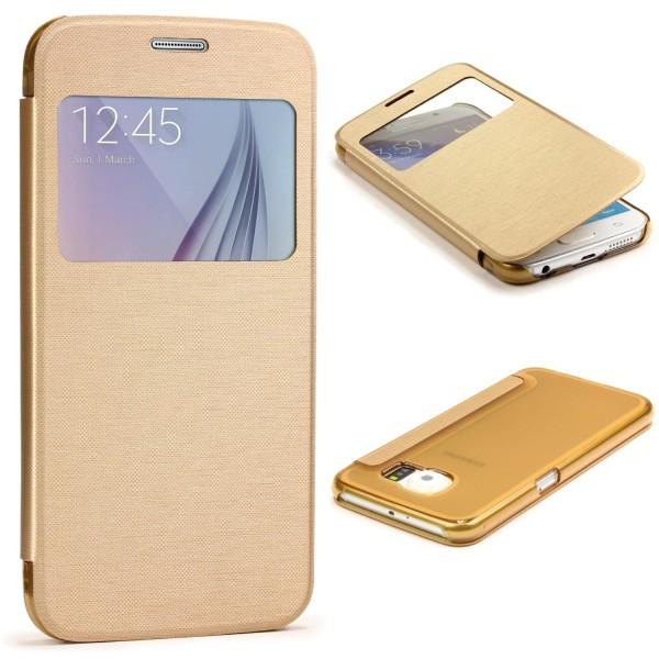 Samsung Galaxy S6 View Case klar Schutz Hülle Cover Case Etui Handytasche Slim