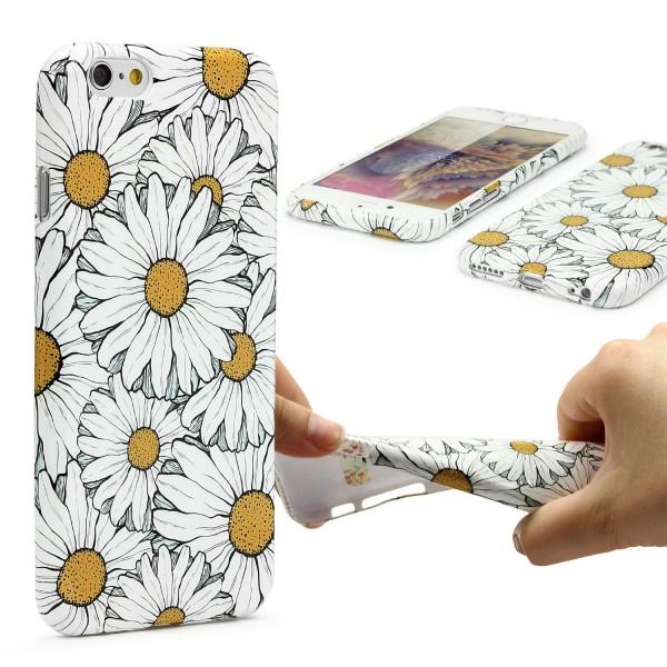 Urcover® Apple iPhone 6 / 6s Blumenmuster Schutzhülle TPU Felxibel Case Cover